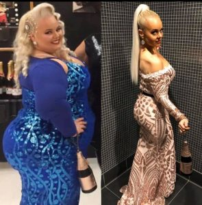 Kayla La Vende before and after photo on the left she is heavier in a blue dress, on the right she is about 180 lbs lighter.